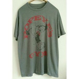 Other - Popeye's Gym Gray Graphic Tee Shirt Large